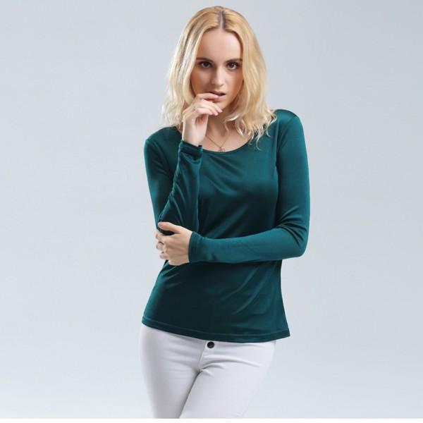 100% pure REAL SILK women base knitted long sleeve T shirt  Basic round neck camisetas femininas undershirt Large size NEW