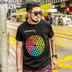 140kg Fat T shirt Men Fashion 2017 Summer T Shirt Homme Big Size Short Sleeve Colorful Circle Casual Mens T-shirt 5xl 6XL 1638