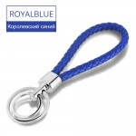 15 Colors PU Leather Braided Woven Rope Double Rings Fit DIY bag Pendant Key Chains Holder Car Keyrings Men Women Keychains K224