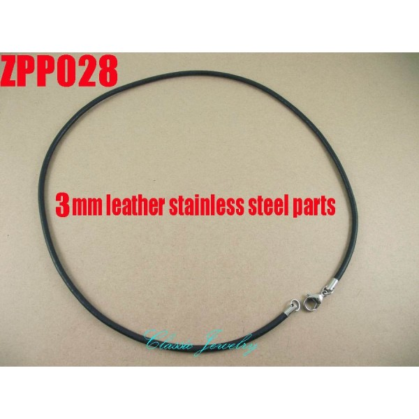 """(16""""-38"""") 20pcs 3mm black Real leather necklace stainless steel accessories jewelry DIY ZPP028"""