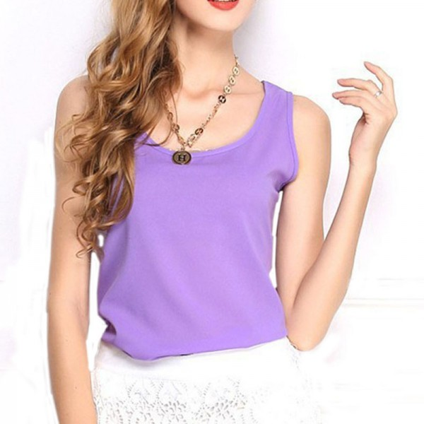 1PCSSexy Women Top Tees Ladies Tops Shoulder Sleeveless Loose Blouses Female Shirts Chiffon Purple New Arrival Camisa Mujer