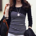 1PcsLong Sleeve Shirt Women Tops And Blouse Fashion Striped Shirts O-Neck Ladies Wear Casual Black And White Striped Shirt Mujer