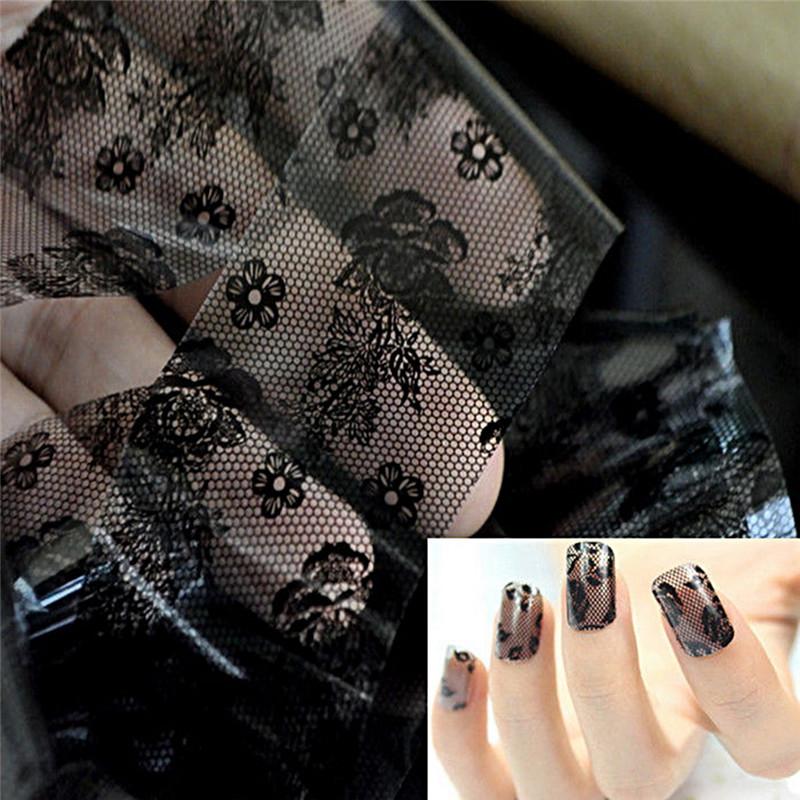 1pc 3d Black Lace Nail Art Templates Foil Stickers Flower Decals