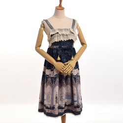 1pc Gothic Japanese Girls Lolita JSK Suspender Lace Dress with Bow