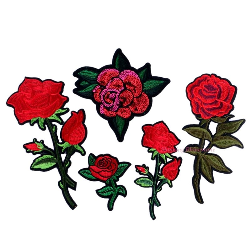 98fb172b98f838 1pc Iron-on Sew-on Patches Red Rose Flower Embroidery Motif Applique Women  DIY Clothes Sticker Wedding Patch Ornament Dress