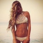 1pc Women Halter Knitted Crop Top Crochet Beach Bikini Boho Bralette Bra Tank Top