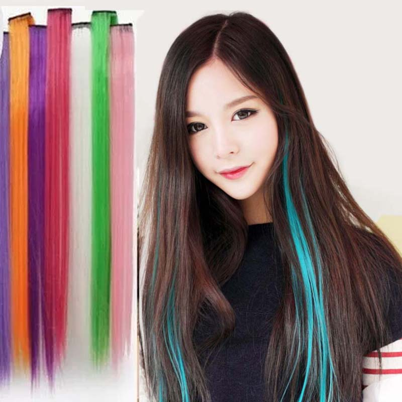 20 Inch Long Hair 1 Clip In Hair Weaving Colorful Hair Extension