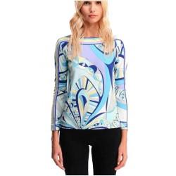 2015 Autumn High Quality Luxury Brands Designer Top Women's Long Sleeve Geometric Printed Casual Jersey Sheath Blouse