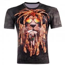 2015 Men Fashion 3D Animal Creative t-Shirt, Lightning/smoke lion/lizard/water droplets 3d printed short sleeve T Shirt M-4XL g