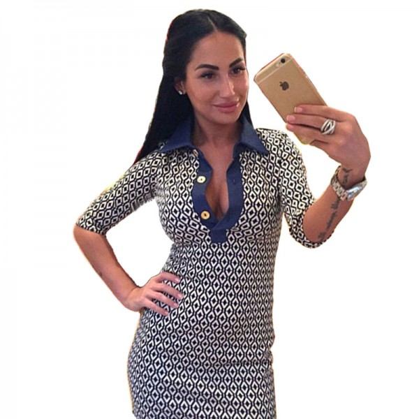 2015 New Arrival free shipping vestido spring and summer tight party dresses fashion 2 colors printing lapel women dress