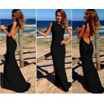 2015 New Summer Polyester Nylon Floor-Length Long Sleeveless Women Dresses Solid Color Backless Sheath Vestidos Party Dress