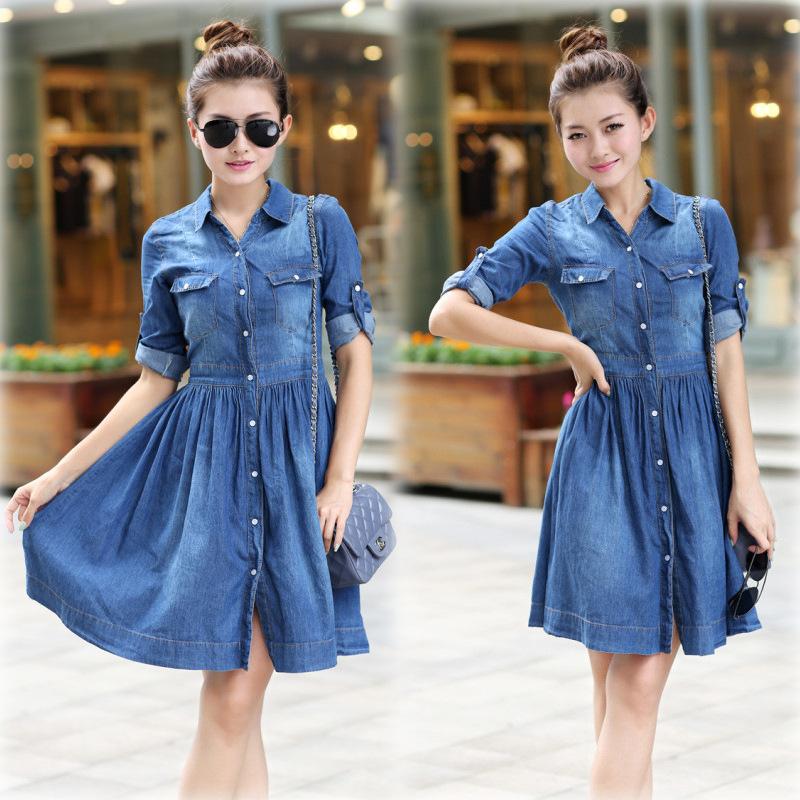 2015 Summer Style Denim Dress Vestidos Femininos Plus Size Women