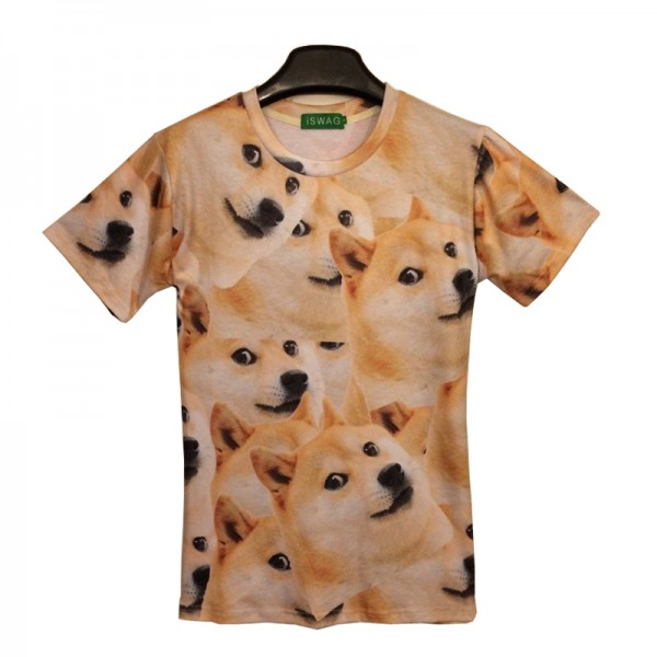 2016 3D Funny T shirts Men Tees Summer Women Emoji Doge T shirt Unisex Funny 3D Shirt Women Men Top Cotton Brand Clothing,JA089
