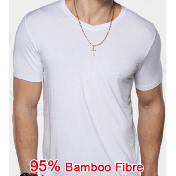 2016 95% Bamboo Fiber T-shirt Summer Breathable Men Underclothes Solid color Loose O Neck Short Sleeve Sports  T shirt Clothes