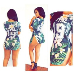 2016 AliExpressl European and America Digital Printing Super Short Sexy Dress Number 19 ROYAL