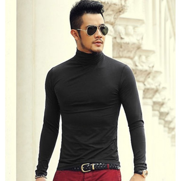 2016 Autumn And spring New Clothes Men's Solid Color Bottoming Shirt Slim Stretch Lycra Cotton Long-Sleeved High-Necked T-Shirt
