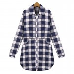 2016 Autumn European Plus size XL- 5XL  Breasted Plaid Cotton Women Long Blouses Long Sleeve Shirts Casual Streetwear Clothing