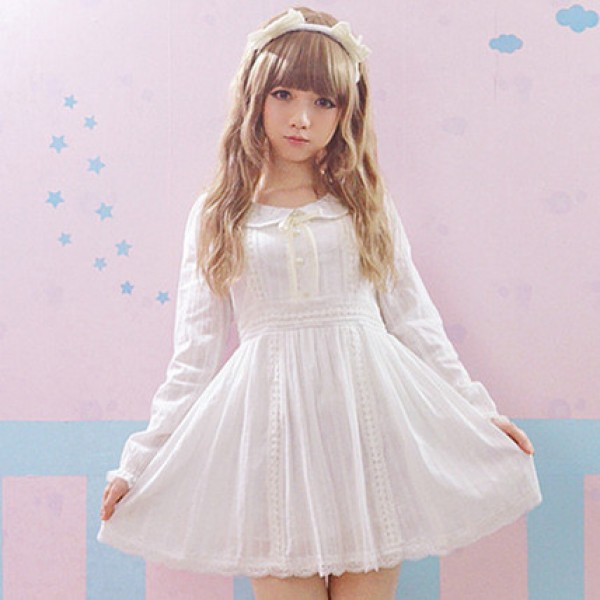 2016 Autumn Lace Lolita White Dress Princess Pearl Cotton Fashion Cute Lovely Dress Girl&Women Sweet Kawaii Full sleeve Dresses