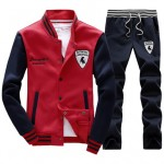 2016 Autumn Men's Baseball SportSuit Sweatshirts Patchwork Long Sleeve Men Hoodies Stand Collar Male Outwear Tracksuit + Pants