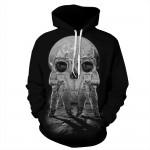 2016 Autumn Style 3D Printed Sweatshirts Astronaut Skull Design Long Black Hoodies Casual Sweatshirt Men 2016 Brand Tracksuits