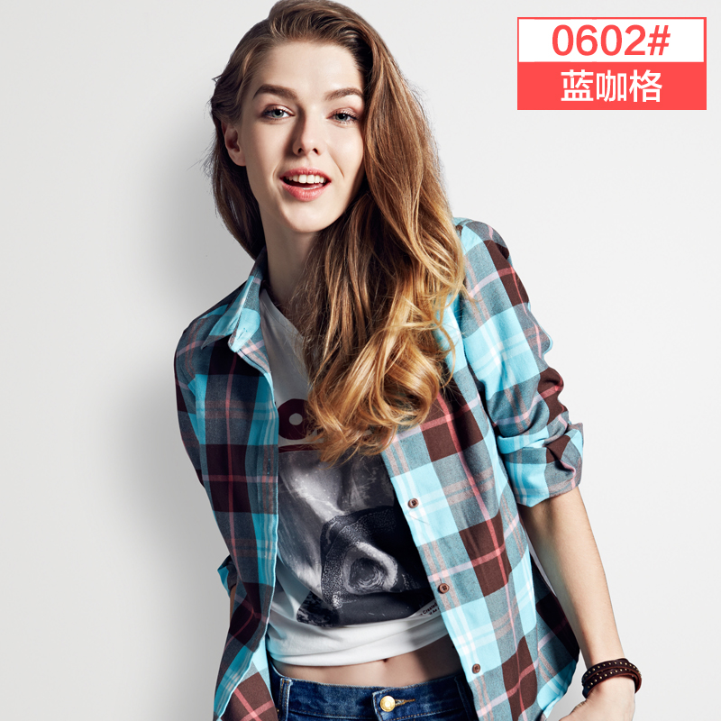 autumn winter long sleeve flannel plaid shirt women blo
