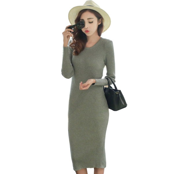 2016 Autumn/Winter Women Clothes Korea Sexy Solid Slit 3color O-Neck knitting Dress Wear To Party Bottoming Women Casual dresses
