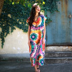 2016 Bohemian style Print Flower Women Long Dress Plus size Loose Summer Dress V-neck Casual Boho Dress Robe Longue Femme A079