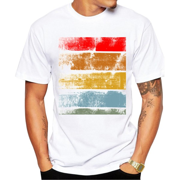 2016 Fashion Retro Wood/ Record Printed Men T shirt Short Sleeve Casual t-shirt Hipster Fractal Pattern tees Cool Tops