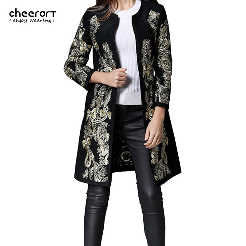 check out 4e8f3 47f62 2016 Gold Embroidery Floral Wool Coat Women Vintage Black ...
