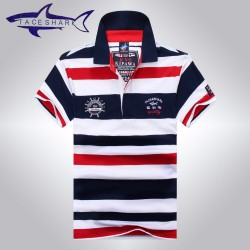 2016 High Quality Tops&Tees Men's Tace Shark Polo Shirts fashion Style Summer Striped Shark brand short sleeve polos shirts  903