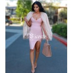 2016 Hot Sale Free Shipping! Must Have Fashion Sexy Deep Vneck Front Splitting Club Celebrity Party Bandage Dress Multi Colors
