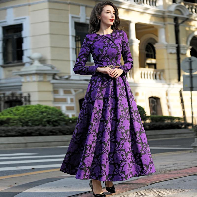 2016 M-3XL Fall Winter Vintage Flowers Women Plus Size Maxi ...