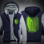 2016 New  Attack on Titan  Winter Jackets hoodie Anime Luminous Hooded Thick Zipper Men Sweatshirts USA EU size Plus size