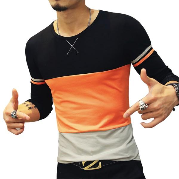 2016 New Arrival Men's Brand T Shirt Fashion Trend Orange Yellow Patckwork Casual T Shirts Men Slim Fitness Plus Size T SHIRT