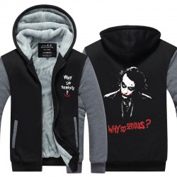 2016 New Arrival Thicken Fleece Jacket Batman The Dark Knight Joker Why So Serious Men's Apparel zipper Tops Plus size