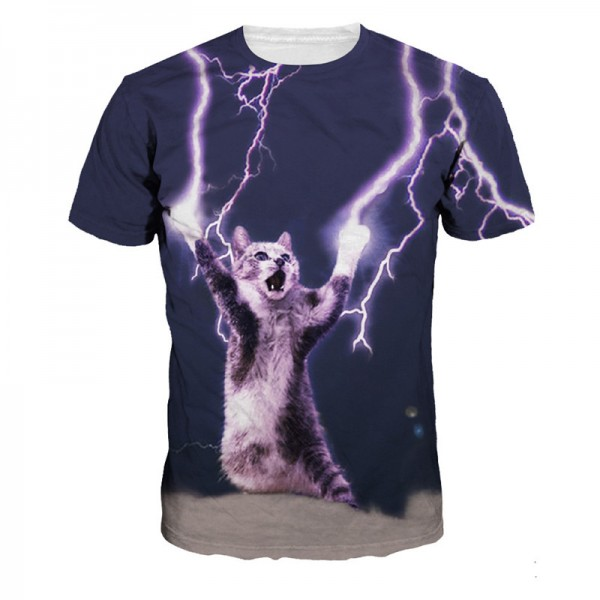 2016 New Arrive T-shirt Casual t shirt Men's tshirt Tops Fashion Tee Shirts Lightning Super Cat Summer Style