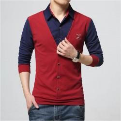 2016 New Autumn Fashion Patch Design Men's Shirt T-shirt Fake Two Long Sleeve Turn-down Collar Cotton T Shirt for Men 5XL