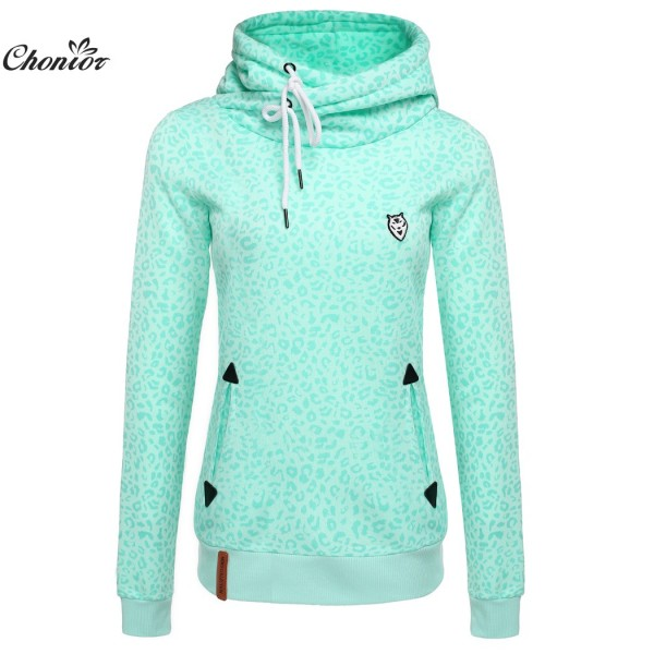 2016 New Fashion Spring Autumn Leopard Coat Women Casual Tops Long Sleeve Harajuku Hoodies Turtlenecks Pullover Outerwear Coat