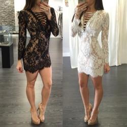 2016 New Lace Up Lace Dress Back Zipper Mini Dress Long Sleeve Sexy Club Party Dress Black White Bodycon Dress Plus Size