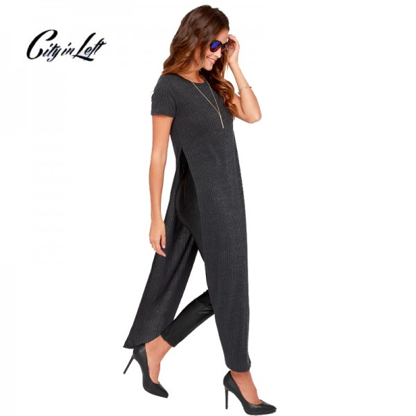 2016 New Women Autumn Side Open Sexy Knitting Dress Pure Color O Neck Short Sleeve Line Vestidos Maxi Long Dresses XS-6XL 697