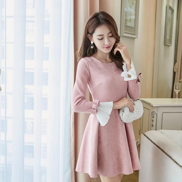 2016 New Women dress Butterfly Sleeve Slim Deer Velvet Dresses Gray Pink Light Blue 1862