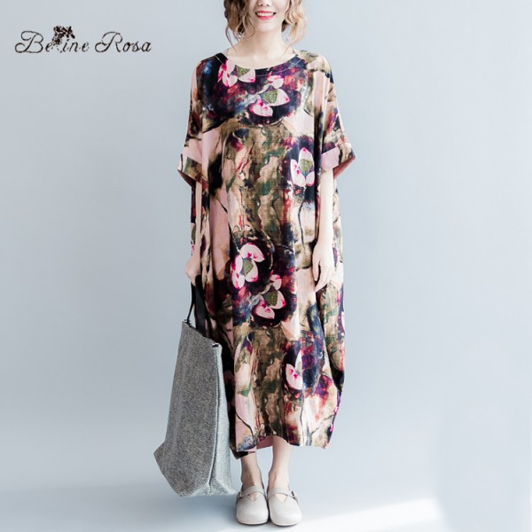 2016 Plus Size Dress Women\'s Printing Long Dress Romantic ...