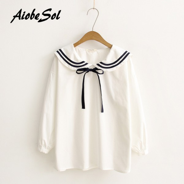2016 Spring Student Cute Lolita Blouse Long Sleeve Peter Pan Collar Bow Tie Japanese Kawaii Shirts Women Mori Girl White Blouse