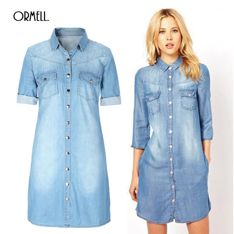 2016 Summer Denim Dress Women Plus Size Three Quarter Sleeve ...