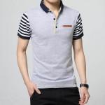 2016 Summer Fashion Hot T shirt Men Plus Size Patchwork Stripe Short Sleeve Turn Down Collar T-shirt Men Tops & Tees Size M-5XL