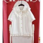 2016 Summer Girls Cute Lolita blouse lace lantern sleeve bow tie chiffon Japanese Kawaii Shirts Women High quality Mori blouse