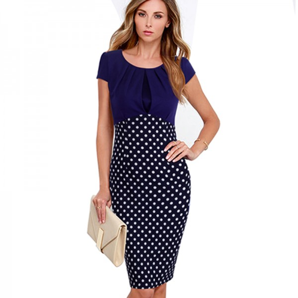 2016 Summer Women Patchwork Contrast Polka Dot Dress Wear To Work Short Sleeve Casual Sheath Elegant Bodycon Pencil Dresses B300