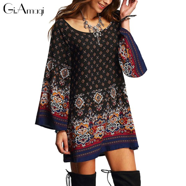 2016 Summer new European retro ethnic Baroque printing women clothing loose floral blouse Casual Beach Shift long Shirts Blouses
