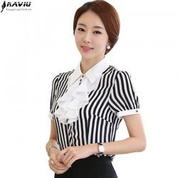 2016 Summer new striped Ruffles women's shirt OL elegant short sleeve chiffon blouse formal office plus size slim ladies tops