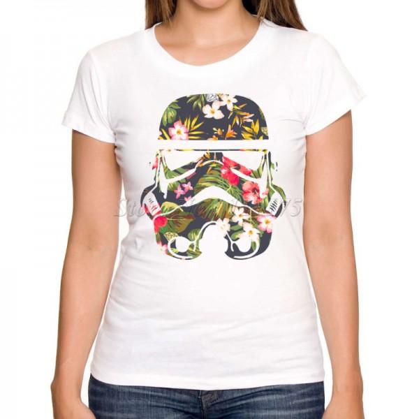 2016 Women Fashion Tropical Stormtrooper Design Short Sleeve T shirt Lady Fantastic Star Wars Printed Tops Summer Tees
